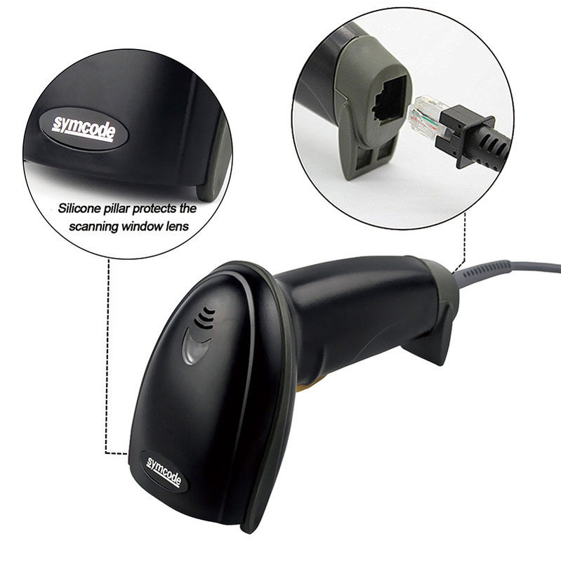 Impact Proof 1D Handheld Barcode Scanner For Shopping 100 Scans / Second